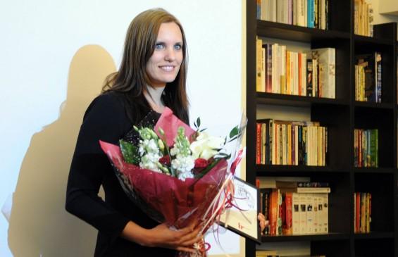 Kristin Solberg kunne ikke motta IR-prisen på SKUP-konferansen fordi hun var på reportasjeoppdrag i Syria. Prisutdelingen og prisvinnerforedraget ble derfor arrangert på Litteraturhuset i Oslo 11. mai. Foto: ELIDA HØEG