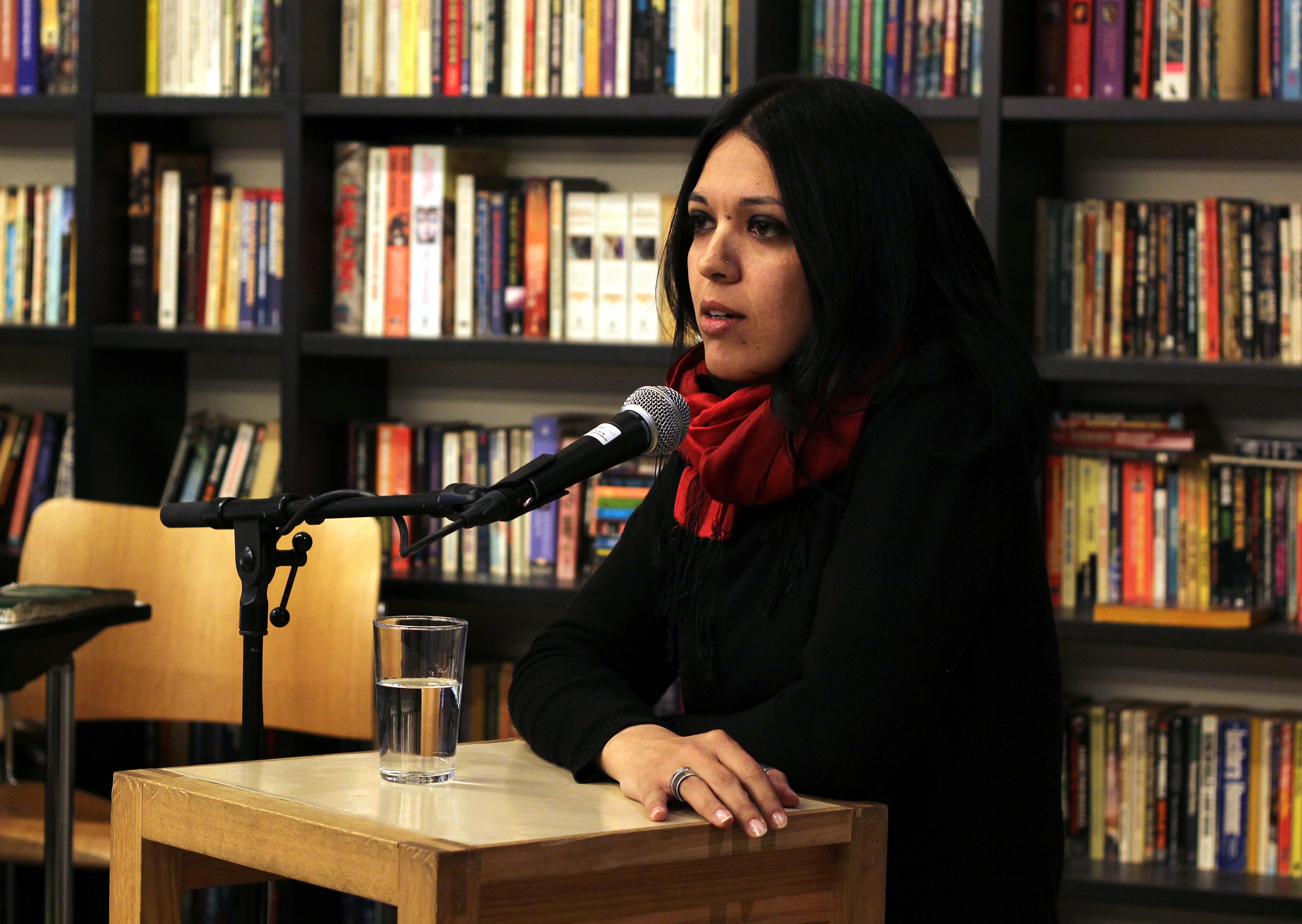 Francesca Borri på Litteraturhuset 23. september. Foto: K. Ziesler / IR